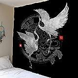KHKJ Sun Moon Star Tapiz Colgante de Pared Chino Flying Crane Tapices de Flores Arte Paño de Pared Alfombra Decoración de Fondo A2 200x180cm