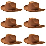 6-Pack Cowboy Hat Halloween Accessory - Dress Up Theme Party Roleplay & Cosplay Headwear Brown