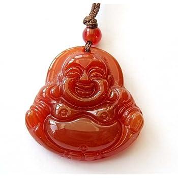 OVALBUY Red Agate Fortune Smile Tibetan Buddhist Buddha Amulet Pendant