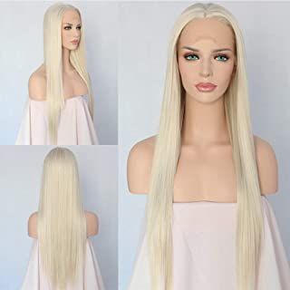 QD-Udreamy Platinum White Blonde Heat Resistant Synthetic Lace Front Wigs for Women 24 Inch