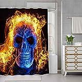 SDDSER Skull Evil Eye Shower Curtain Horror Flash Fire Bathroom Curtain for Kids, Waterproof Fabric 72X72 with 12 Hooks YLQQSD197 …