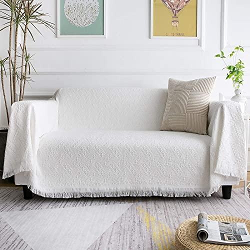 LHGOGO Multifunktionales Sofa-überwurf Tagesdecke Sofabezug Größe 3 Sitze 180X300cm weiß