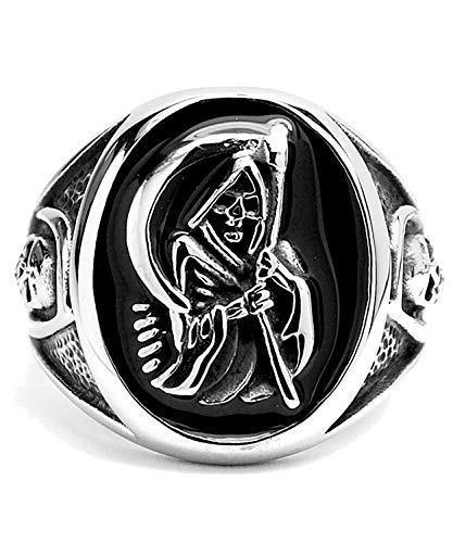 Men's Stainless Steel Casted Grim Reaper Ring with Enamel Sizes 8 to 14