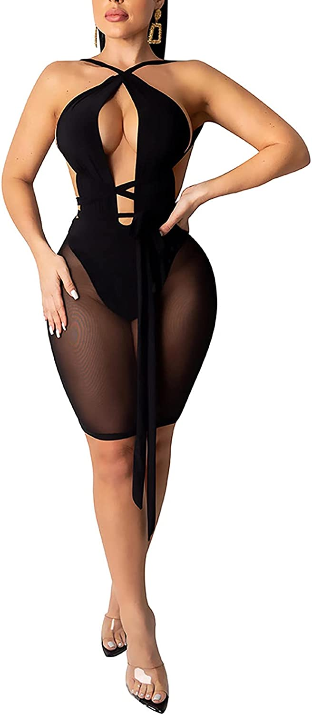 Womens Sexy Bodycon Mini Dresses Cut Out Criss Cross Halter Sleeveless Top See Through Mesh Skirt Bodysuit Clubwear
