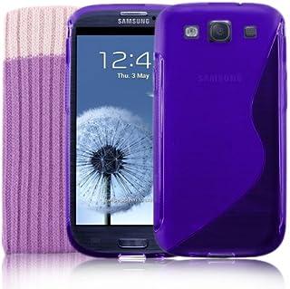 Samsung Galaxy S3 lila S-Line silikon-fodral + skärmskydd och strumpa