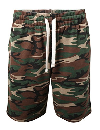 ProGo Men's Casual Basic Fleece Marled Shorts Pants with Elastic Waist (Forest Camo, X-Large)
