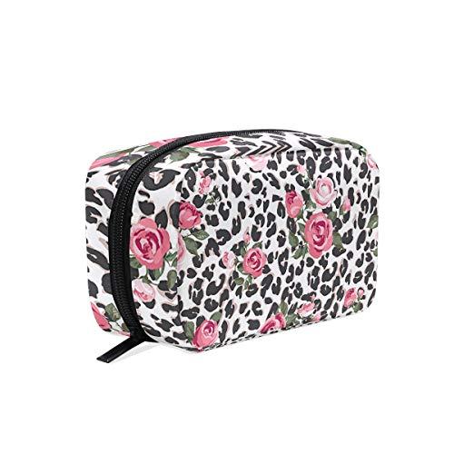 Rose et léopard Maquillage Sac Cosmétique Sac de toilette Sac de voyage Coque pour femme, étui de rangement organiseur portable Sacs Box
