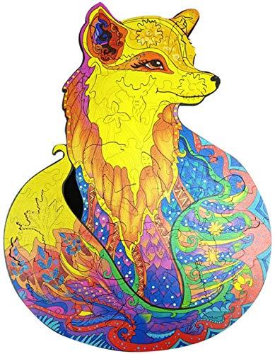 YDCX Einzigartige Form Puzzleteile, Holz Cartoon Fox Design Erwachsene Kinder Spielzeug Dekor Puzzle,holzpuzzle Wolf/Eule/Fuchs/löwe, Personalisierte Geschenk Home Decor Spiel (A4,Fuchs)