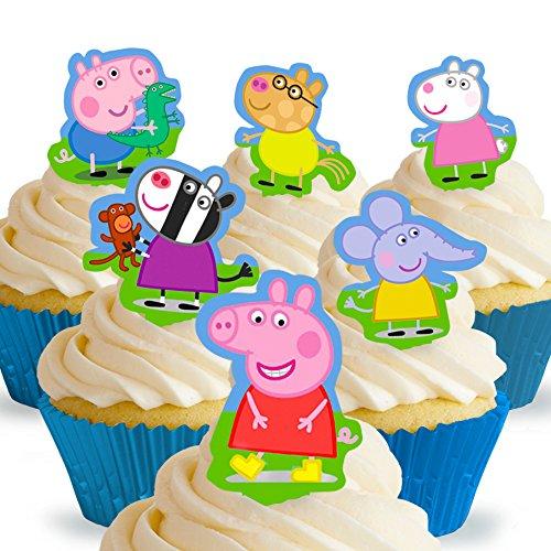 Cakeshop 12 x Vorgeschnittene und Essbare Aufrecht Stehende Peppa Wutz Kuchen Topper (Tortenaufleger, Bedruckte Oblaten, Oblatenaufleger)