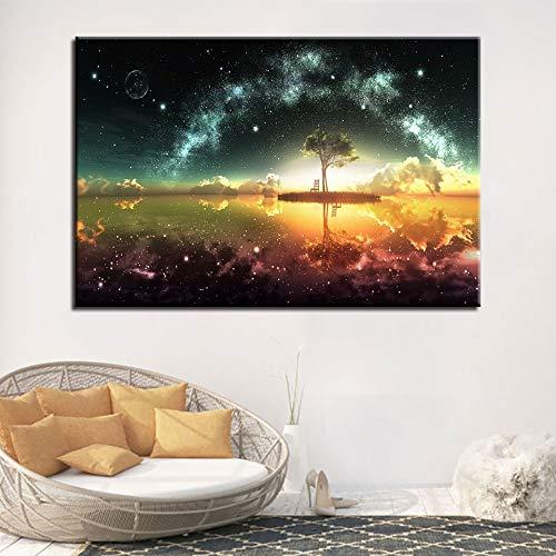 N\A Pinturas En Lienzo Vista Nocturna Natural Póster de imágenes y Arte Decorativo para Sala de Estar.-Sin marco60x90cm
