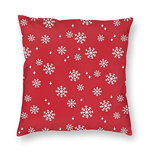 sherry-shop ~ Snowflake Red Christmas Home Decor Throw Pillow Cover, Lightweight Plush 18x18 Inch