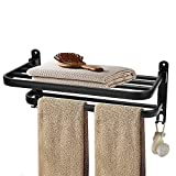 Punvot Toallero sin taladrar, 40 cm, color negro, soporte para toallas de baño,...