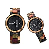 STKJ Paare Creative Wood Uhr, Kalenderwoche anzeigen Benutzerdefinierte Herren Holz Leichte Einzigartig für Männer Frauen-Geschenk-Idee,Couple Models