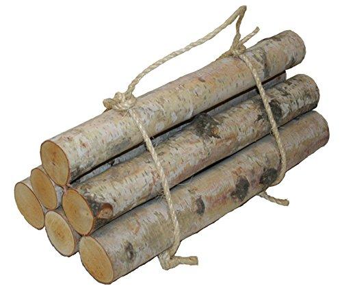 Wilson Enterprises Roped Bundle of Birch Logs (Medium- Set of 6 (1.5-2.5 inch Diameter x 17-18 inch Long))