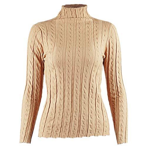 N\P Top - Suéter de punto para mujer, manga larga, cuello alto, capa inferior