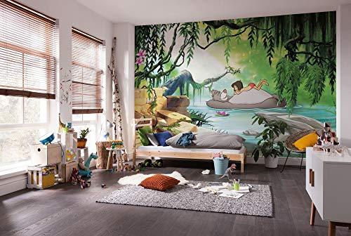 Disney fotobehang van Komar | JungGLE Book SWIMMING WITH BALOO | Afmetingen: 368 x 254 cm (breedte x hoogte) | behang, kinderen, muur, kinderkamer, decoratie - 8-4106
