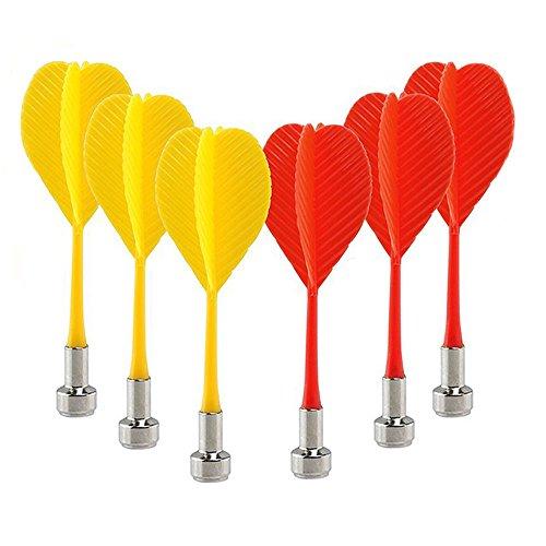 Vientiane Magnetische Dart Bullseye,6 Stück Kunststoff Flügel Magnet Dart,Bullseye Target Wing Needle Magnetpfeile,Ziel Spiel Spielzeug (Rot und Gelb)