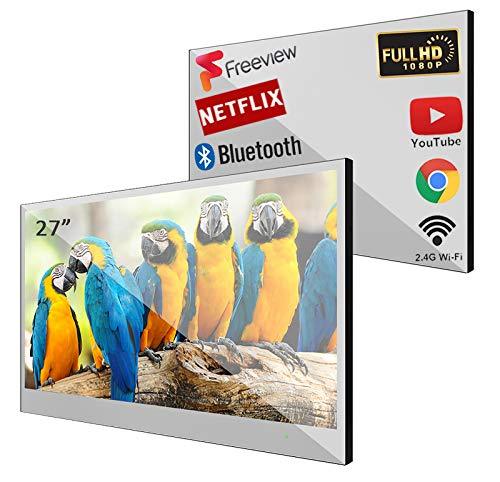 Soulaca 27 inch Bathroom TV Smart Mirror TV IP66 Waterproof Integrated with Wi-Fi and Bluetooth...