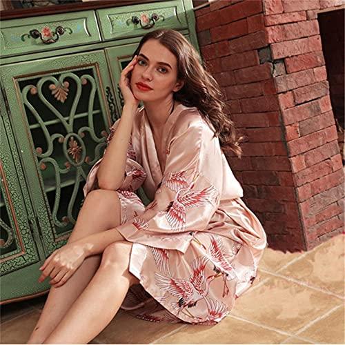 CDDKJDS Pijama largo suelto de satén para mujer de pavo real Yukata, kimono de grúa oriental Qipao camisón (color: té de leche, tamaño: L)