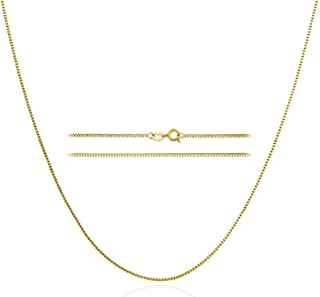18k Gold Plated Box Chain: Stainless Steel Dainty Link Thin Trendy Light Hypoallergenic Delicate 1mm Golden Minimalist Nec...