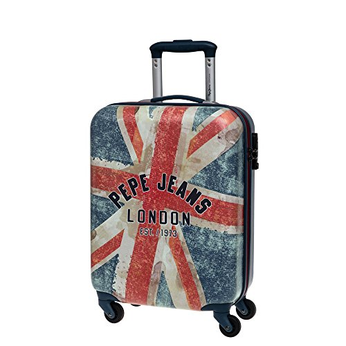 Pepe Jeans Trolley Cabina, 4 Ruote, Uomo, 33 Litri, London Bandiera, Blu
