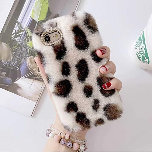 Miagon Pelz Hülle für Huawei P40 Lite,Glitzer Leopardenmuster Weich Warm Kunstpelz Plüsch Fluffy Flexibel Schutz Handytasche Case Cover,Weiß Braun