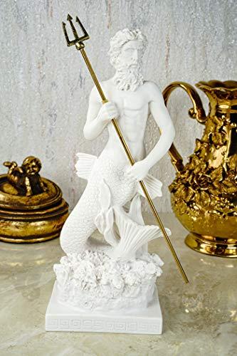 Alabaster Figur Poseidon mit Dreizack Gott des Meeres Skulptur 26 cm weiß Glück Meer