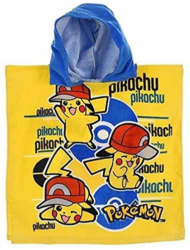 Suncity Poncho Toalla Playa Piscina BAÑO con Capucha Pikachu Pokemon 100x50cm