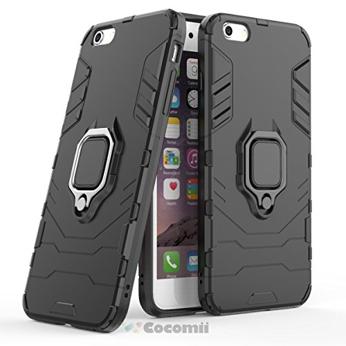 Cocomii Black Panther Armor iPhone 6S Plus/6 Plus Funda Nuevo [Robusto] Anillo Metálico Soporte [Funciona con El Montaje De Coche Magnético] Case Carcasa for Apple iPhone 6S Plus/6 Plus (B.Jet Black)