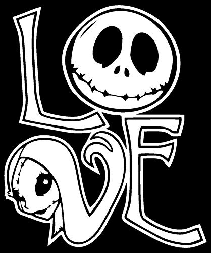 FAM - Nightmare Before Christmas Jack and Sally Love Vinyl Decal White 5.5' - Sticker for Car, Trucks, Walls, Laptop