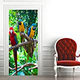 Türtapete 77X200cm Waldtier Papagei Türfolie Poster