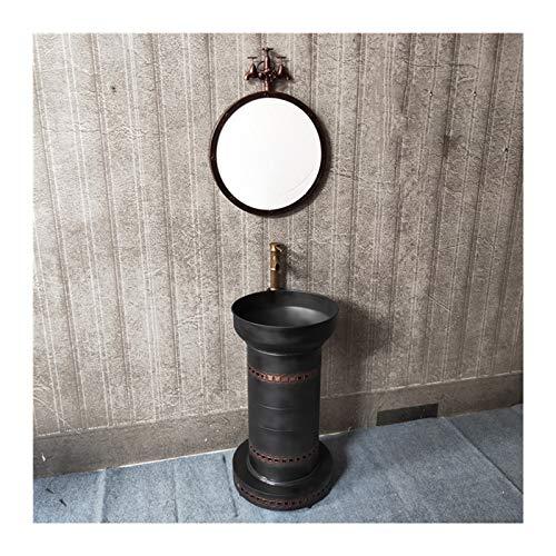 Lavabo Con Grifo, Boca De Incendio Planchar Lavar Manos Retro Estilo Industrial Americano Lavabo (Color : Copper, tamaño : Wash basin+mirror)