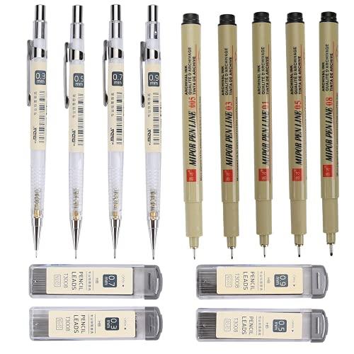 Druckbleistift, Johiux Fineliner-Stifte und 4 Größen von Druckbleistiften 0,3, 0,5, 0,7, 0,9 mm , 4 Schachteln mit austauschbaren Nachfüllstiften Bleistift Set für Haushalts-, Schul- und Büromaterial.