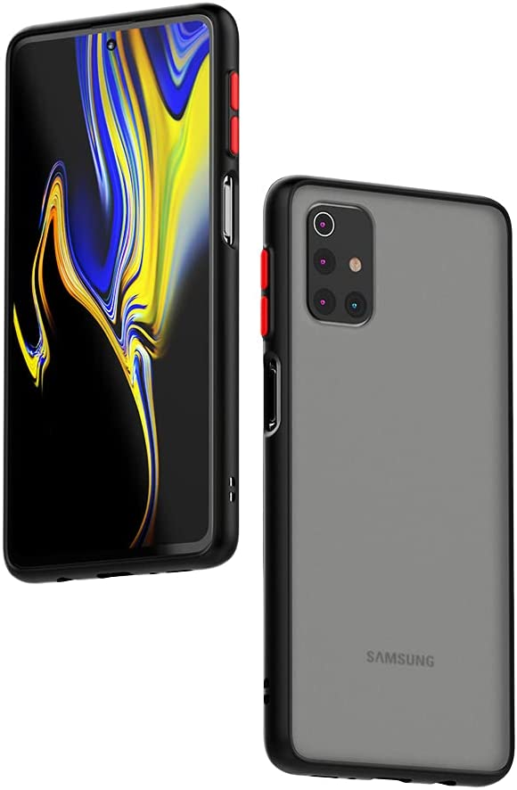 Case for Samsung Galaxy M31S Case [Protect from Fingerprint/Shock/Scratch/Slip] Shockproof Hard PC Back with Soft TPU Bumper Slim Protective Phone Cover for Samsung Galaxy M31S (Black)