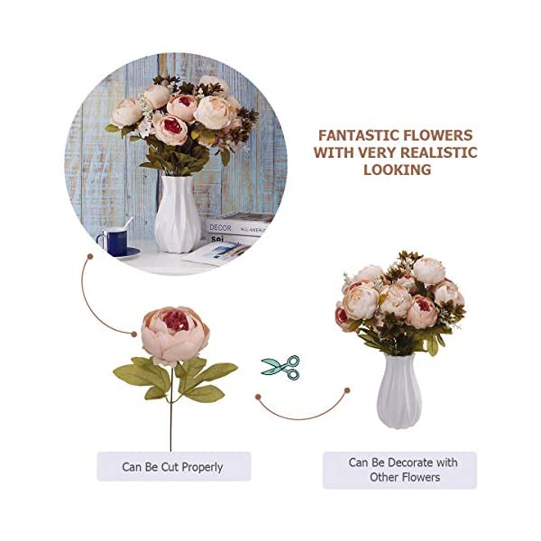 ANWBROAD Ramo de flores artificiales de peonía vintage 2 unidades flores de seda realista ramo de flores para el hogar…