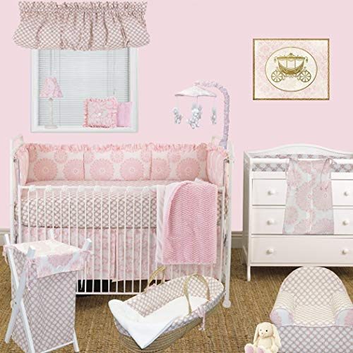 Best Price DS 8 Piece Baby Girls Simple Pink White Flowers Crib Bedding Set, Newborn Floral Themed Nursery Bed Set Infant Child Cute Adorable Paisley Princess Geometric Blanket Coverlet, Cotton