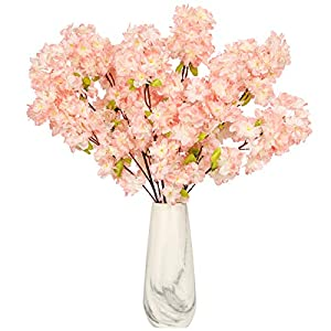 Tifuly 4pcs Cherry Blossom Artificial Flowers,Silk Cherry Blossom Branches Tall,42.52 Inch Long Stem Fake Flower