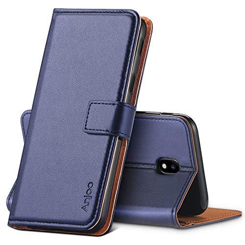 Anjoo Hülle Kompatibel für Samsung Galaxy J3 2017, Tasche Leder Flip Hülle Brieftasche Etui mit Kartenfach & Ständer Kompatibel für Samsung Galaxy J3 2017 (Blau)