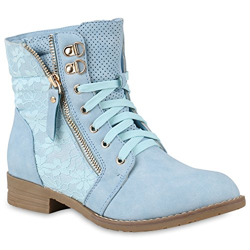 Stylische Damen Stiefeletten Worker Boots Knöchelhohe Stiefel Gesteppt Damen Leder-Optik Zipper Ketten Schuhe 146975 Hellblau 39 Flandell
