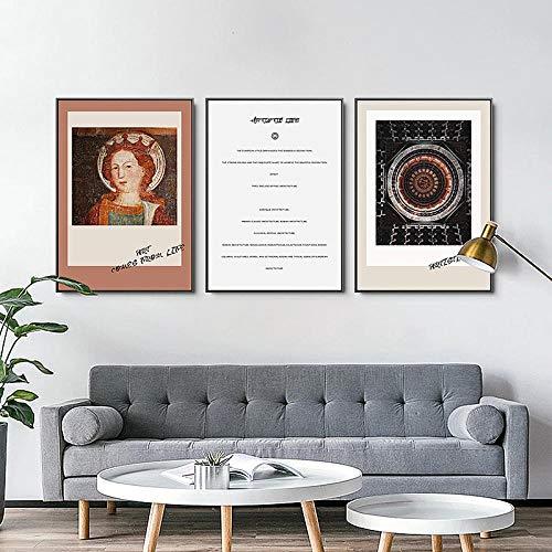 SHUTIAOQUN Nordic Retro Figur Kirche Wandkunst Leinwand Poster Malerei Drucke literarische Kunst Bilder für Wohnzimmer Postmoderne Wohnkultur 40x60cmx3 Rahmenlos