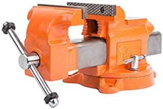 """Forward 5-Inch Bench Vise Ductile Iron with Channel Steel and 360-Degree Swivel Base HY-30505-5In (5"""")"""