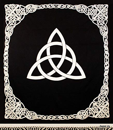 Heavy Cotton Celtic Trinity Knot Tapestry Wall Hanging Triquetra Bed Sheet Bedspread with Fringes (White, 70 x 98 inches)