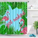 LB Duschvorhang mit tropischen Monstera-Palmen-Bananenblättern, mit Haken, rosa Schrift, Get Naked Flamingo, Badezimmer-Gardinen, 152,4 x 182,9 cm, wasserdichtes Polyestergewebe, Grün / Blau