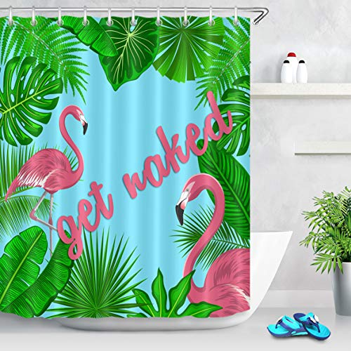 LB Tropical Monstera Palm Banana Leaf Shower Curtain with Hooks,Pink Font Get Naked Flamingo Bathroom Curtains 60x72 inch Waterproof Polyester Fabric,Green Blue