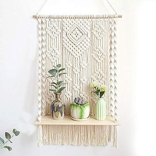 Bohos - Estante colgante de pared para macramé, diseño de plantas flotantes y columpio de madera, estante de macramé, hecho a mano, organizador bohemio para decoración del hogar