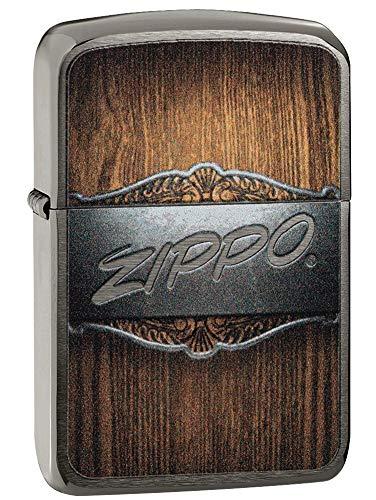 Zippo Metal on Wood Feuerzeug, Messing, Design, 5,83,81,2