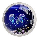 Tirador de manijas de cajón para el hogar, cocina, tocador, armario,Acuario con medusas azules