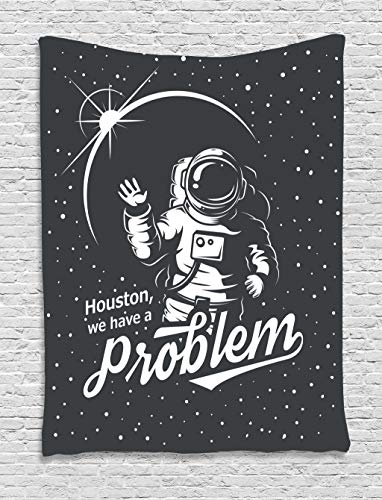 Ambesonne Outer Space Decor Collection, Space Themed Art with Houston We Have a Problem Message Travel Image, Bedroom Living Room Dorm Wall Hanging Tapestry, Dimgrey White