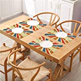 FloraGrantnan Decor - Mantel de mesa de comedor duradero con diseño de arco iris, diseño de rayos solares coloridos con efecto grunge Ret, manteles de cocina fáciles de limpiar, juego de 8