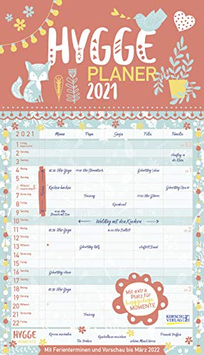 Hygge Planer 2021: Familienplaner, 5 große Spalten. Mit Ferienterminen, extra Spalte und Vorschau bis März 2022. Mit extra Platz für hyggelige Momente. Format: 27 x 47 cm